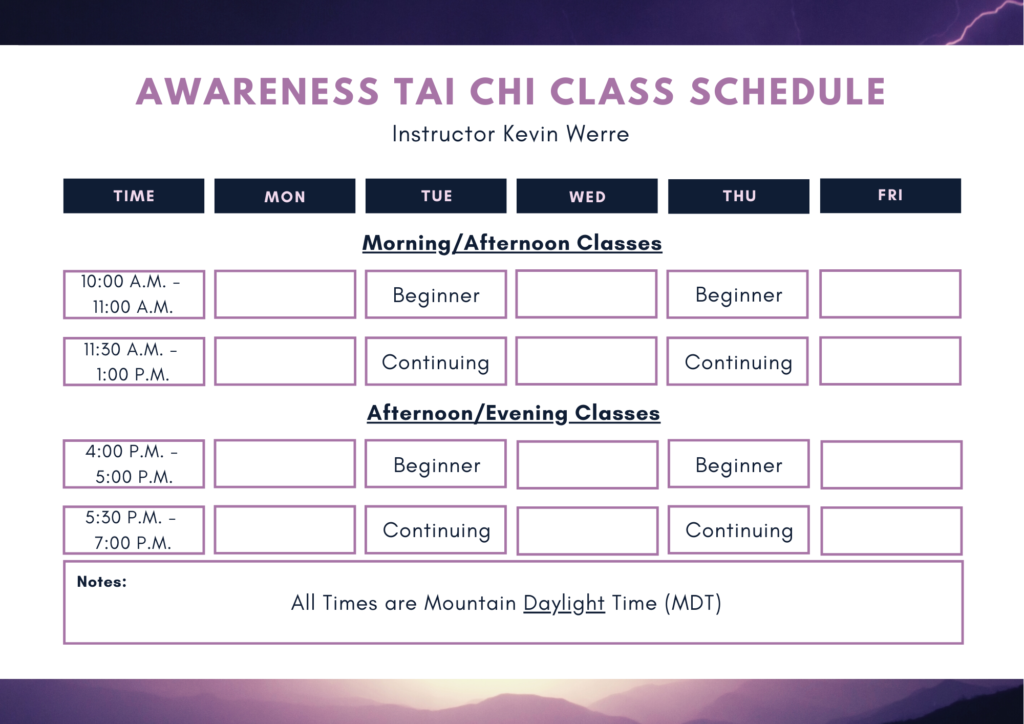 Awareness Tai Chi Class Schedule